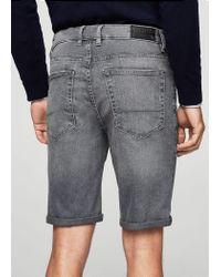 Mango - Gray Grey Denim Bermuda Shorts - Lyst