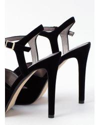 Mango | Black Velvet Heel Sandals | Lyst
