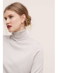 Violeta by Mango - Metallic Semiprecious Stone Earring - Lyst