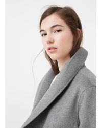 Mango - Gray Wide Lapel Wool-blend Coat - Lyst