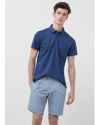 Mango | Blue Cotton Pleated Bermuda Shorts for Men | Lyst