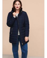 Violeta by Mango | Blue Side-zip Quilted Coat | Lyst