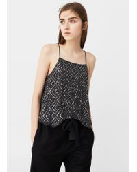 Mango - Gray Sequin Embroidery Top - Lyst
