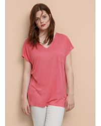 Violeta by Mango - Pink Pocket Linen-blend T-shirt - Lyst