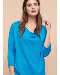 Violeta by Mango - Blue Fine-knit Linen Sweater - Lyst