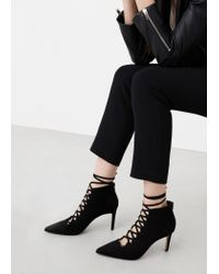Mango Black Heel Lace-up Ankle Boots