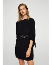 Mango - Black Sleeve Knotted Sweater - Lyst