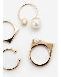 Mango - Metallic Pearly Bead Ring Set - Lyst