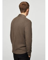 Mango - Brown Lapel Cotton Cardigan for Men - Lyst