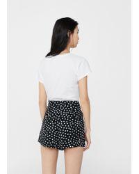 Mango - Black Printed Flowy Shorts - Lyst