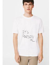 Mango - White Message Cotton T-shirt for Men - Lyst