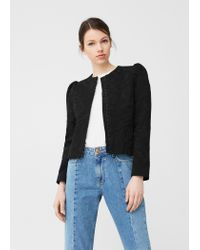 Mango | Black Textured Cotton-blend Jacket | Lyst
