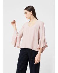 Mango | Pink Ruffled Sleeve Blouse | Lyst