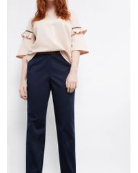 Violeta by Mango | Blue Belt Cotton-blend Trousers | Lyst