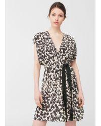 Mango | Black Flowy Print Dress | Lyst