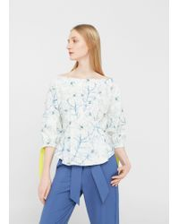 Mango | White Printed Cotton Blouse | Lyst