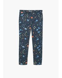 Mango | Blue Flower Print Trousers | Lyst