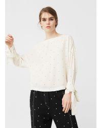 Mango | White Bow Printed Blouse | Lyst