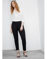 Violeta by Mango | Black Straight Cotton Trousers | Lyst