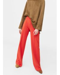 Mango | Red Flowy Straight-fit Trousers | Lyst