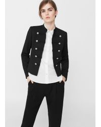 Mango | Black Military-style Jacket | Lyst