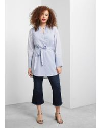 Violeta by Mango | Blue Striped Cotton Blouse | Lyst