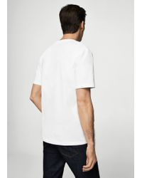 Mango | White Organic Cotton Message T-shirt for Men | Lyst