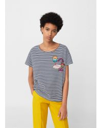 Mango | Blue Decorative Patches T-shirt | Lyst