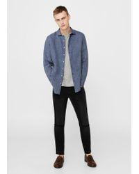 Mango   Blue Slim-fit Linen Shirt for Men   Lyst