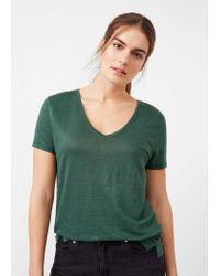 Violeta by Mango | Green Flecked Linen-blend T-shirt | Lyst