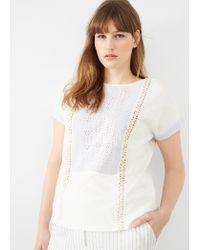 Violeta by Mango   White Openwork Panel T-shirt   Lyst