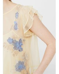 Mango - Natural Embroidered Tulle T-shirt - Lyst