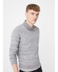 Mango | Gray Shawl Collar Textured Sweater for Men | Lyst