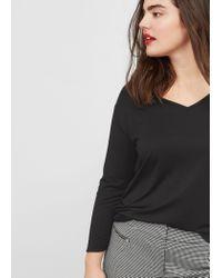 Violeta by Mango   Black V-neck T-shirt   Lyst