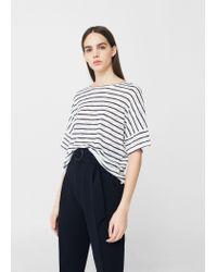 Mango | Blue Striped T-shirt | Lyst