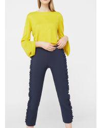 Mango | Blue Ruffled Trims Trousers | Lyst