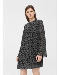 Mango | Black Flowy Printed Dress | Lyst