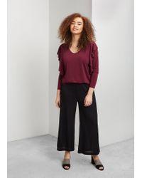 Violeta by Mango | Red Ruffled Detail T-shirt | Lyst