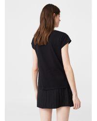 Mango - Black Message Cotton T-shirt - Lyst
