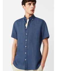 61b0a9932a4b Mango Slim-fit Short-sleeve Linen Shirt in Blue for Men - Lyst