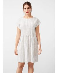 Violeta by Mango | White Striped Cotton-blend Dress | Lyst