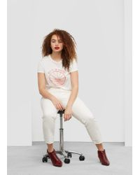 Violeta by Mango | White Cotton Modal-blend T-shirt | Lyst