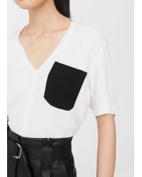 Mango - White Contrast Chest-pocket T-shirt - Lyst
