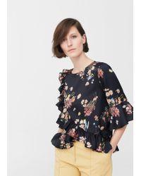 Mango | Black Wrap Floral Blouse | Lyst