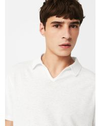 Mango - White Cotton Linen-blend Polo Shirt for Men - Lyst