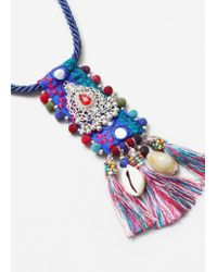 Mango - Blue Tassel Bead Necklace - Lyst