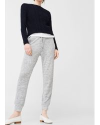 Mango   Gray Flecked Baggy Trousers   Lyst