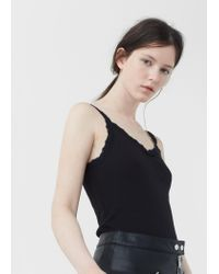 Mango | Black Ribbed Cotton-blend Top | Lyst