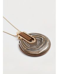 Violeta by Mango | Metallic Pendant Long Necklace | Lyst
