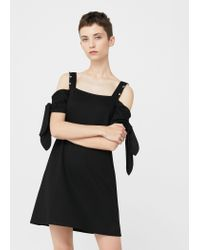Mango - Black Metallic Appliqué Dress - Lyst